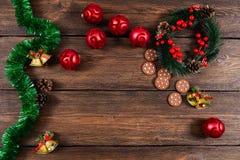 Kerstmis houten hoogste mening als achtergrond Stock Foto