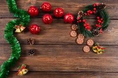 Kerstmis houten hoogste mening als achtergrond Stock Foto's
