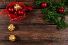 Kerstmis houten hoogste mening als achtergrond Royalty-vrije Stock Foto's