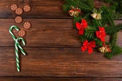 Kerstmis houten hoogste mening als achtergrond Stock Afbeeldingen