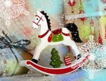 Kerstmis houten stuk speelgoed paard Royalty-vrije Stock Fotografie