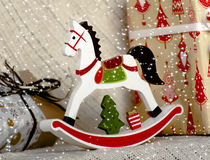 Kerstmis houten stuk speelgoed paard Royalty-vrije Stock Foto's
