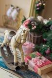 Kerstmis houten stuk speelgoed paard Royalty-vrije Stock Foto
