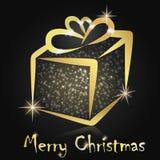Kerstmis huidig in een gouden doos Stock Foto's