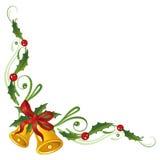 Kerstmis, hulst, klokken Stock Afbeelding