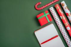 Kerstmis inspireerde flatlay royalty-vrije stock afbeelding