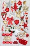 Kerstmis Joy Sign en Decoratie Royalty-vrije Stock Afbeeldingen