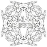 Kerstmis juicht zwart-witte affiche met hulstbessen en boomtakken toe Royalty-vrije Stock Foto