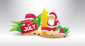 Kerstmis in juli-ontwerp met 3d concept stock illustratie