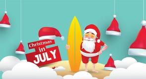 Kerstmis in juli-ontwerp met 3d concept royalty-vrije illustratie