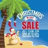 Kerstmis in Juli-Verkoop marketing malplaatje stock illustratie