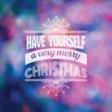 Kerstmis Kalligrafische Kaart Stock Afbeelding