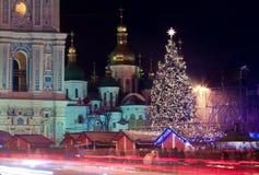 Kerstmis in Kiev, de Oekraïne Stock Foto's