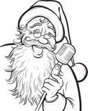 Kerstmis kleurende pagina met zingende Santa Claus Stock Foto