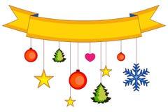Kerstmis kleurrijke affiche, lint, sneeuwvlokken en sterren Stock Afbeeldingen