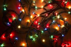 Kerstmis kleurrijke opvlammende lichten Stock Fotografie