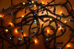 Kerstmis kleurrijke opvlammende lichten Royalty-vrije Stock Foto's
