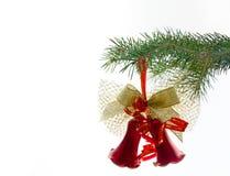 Kerstmis klok op spar Stock Afbeelding