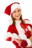 Kerstmis: Lachende Santa Elf Woman Royalty-vrije Stock Afbeeldingen