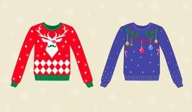 Kerstmis lelijke sweaters op achtergrond met showflakes Stock Fotografie