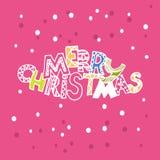 Kerstmis Leuke inschrijving?? Vrolijke Kerstmis?? met sneeuwvlokken Royalty-vrije Stock Foto