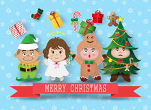 Kerstmis leuke jonge geitjes Stock Afbeelding