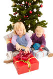 Kerstmis - Leuke jonge meisjes Stock Foto's