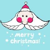 Kerstmis Leuke Kerstman met lange snorren in een santahoed Vector Royalty-vrije Stock Foto