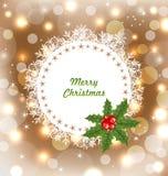 Kerstmis Leuke Uitnodiging met Holly Berry Royalty-vrije Stock Foto's
