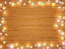 Kerstmis licht kader, Kerstmisbanner op houten achtergrond vector illustratie