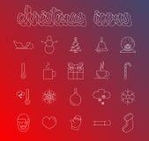 Kerstmis Lineaire Pictogrammen Stock Foto's