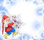 Kerstmis magische achtergrond met gnoom Stock Afbeelding