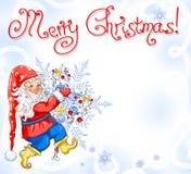 Kerstmis magische achtergrond met gnoom Royalty-vrije Stock Fotografie
