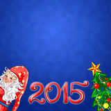 Kerstmis magische achtergrond met gnoom en spar Stock Foto