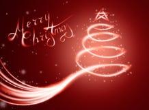 Kerstmis magische kaart met boom in licht en fonkelingen Stock Foto