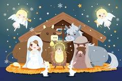 Kerstmis met baby Jesus royalty-vrije illustratie