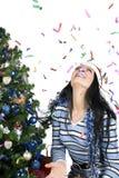 Kerstmis met confettien Royalty-vrije Stock Foto's