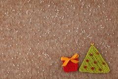Kerstmis met de hand gemaakte gebreide prentbriefkaar Royalty-vrije Stock Afbeeldingen