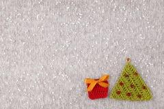 Kerstmis met de hand gemaakte gebreide prentbriefkaar Royalty-vrije Stock Afbeelding