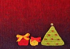 Kerstmis met de hand gemaakte gebreide prentbriefkaar Stock Afbeelding