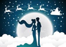 Kerstmis met de uitnodigingskaart van het santahuwelijk met silhouetbruid en bruidegom Volle maanachtergrond royalty-vrije illustratie