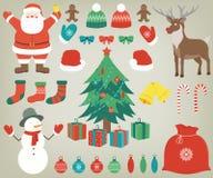 Kerstmis met decoratieelementen dat wordt geplaatst Getrokken hand Vector Royalty-vrije Stock Afbeeldingen