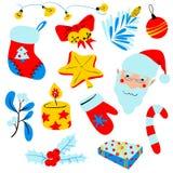 Kerstmis met decoratievoorwerpen dat wordt geplaatst Geïsoleerdeu ontwerpelementen Royalty-vrije Stock Afbeelding