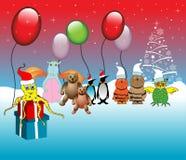 Kerstmis met dieren royalty-vrije illustratie