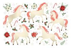 Kerstmis met Eenhoorn, vectorillustratie op zwarte achtergrond wordt geplaatst die royalty-vrije stock foto's