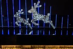 Kerstmis met herten wordt verfraaid dat Stock Afbeelding