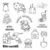 Kerstmis met krabbelhand getrokken elementen dat wordt geplaatst Santa Claus, giften en typografisch royalty-vrije illustratie