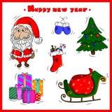 Kerstmis met leuke ontwerpelementen dat wordt geplaatst royalty-vrije illustratie