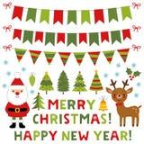Kerstmis met Santa Claus, zijn herten en decoratie wordt geplaatst die stock foto's