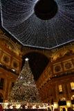 Kerstmis 2018 Milan Galleria Vittorio Emanuele II Swarovski-boom stock fotografie